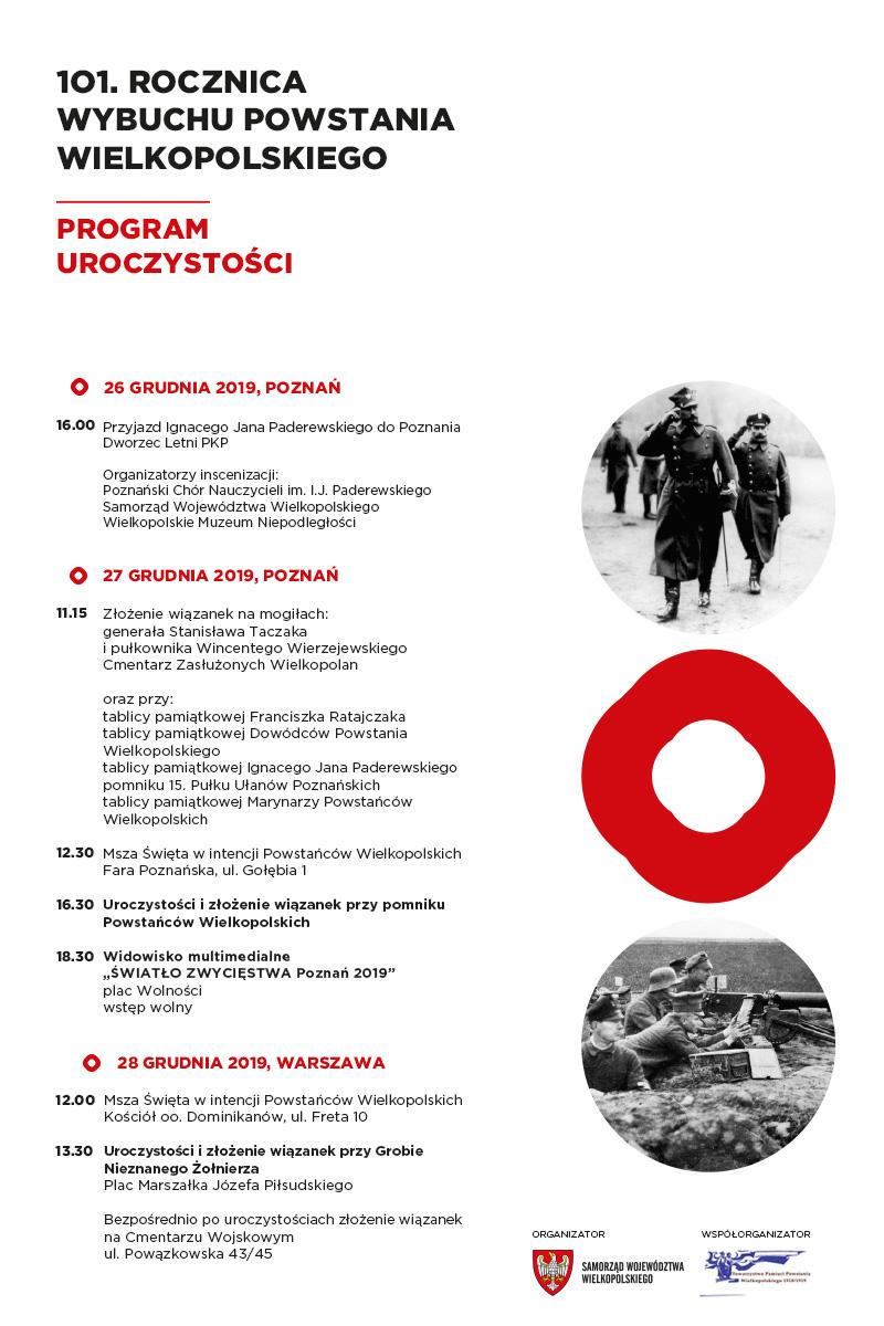 Program obchodów 101. rocznicy wybuchu Powstania Wielkopolskiego