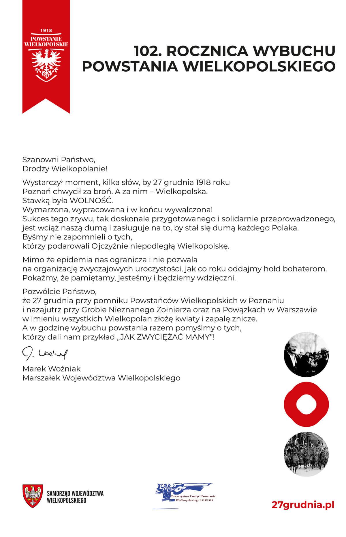 Oddajmy hołd bohaterom zwycięskiego Powstania Wielkopolskiego 1918/1919